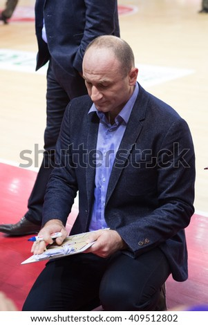 SAMARA, RUSSIA - NOVEMBER 06: BC Royal Hali Gaziantep head coach Aziz Bekir during a timeout of the BC Krasnye Krylia basketball game on November 06, 2013 in Samara, Russia.