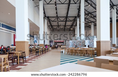 SAMARA, RUSSIA - NOVEMBER 16, 2014: Food court at a shopping center Ambar. The one of largest shopping center in Samara, opened in August 2014 - stock photo