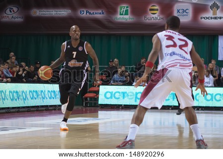 SAMARA, RUSSIA - NOVEMBER 10: Ramel Curry of BC Donetsk, with ball, is on the attack during a BC Krasnye Krylia game on November 10, 2012 in Samara, Russia.