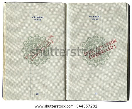 SAMARA, RUSSIA - OCTOBER 14, 2014: Pages for visa marks in the Turkish passport - stock photo