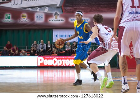 SAMARA, RUSSIA - OCTOBER 22: Rawle Marshall of BC Astana, with ball, is on the attack during a BC Krasnye Krylia game on October 22, 2012 in Samara, Russia.