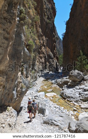 Samaria gorge at Crete island in Greece - stock photo