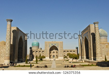 Samarkand's iconic Registan with its three medieval madrassas - stock photo