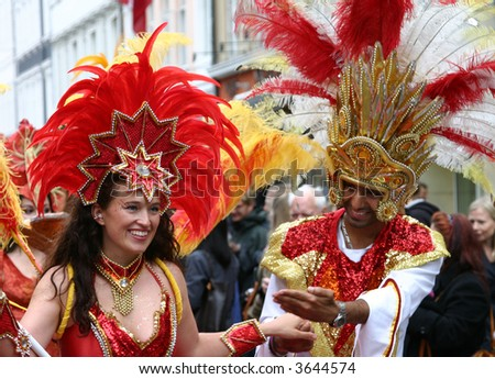 Samba carnival procession in Copenhagen - stock photo