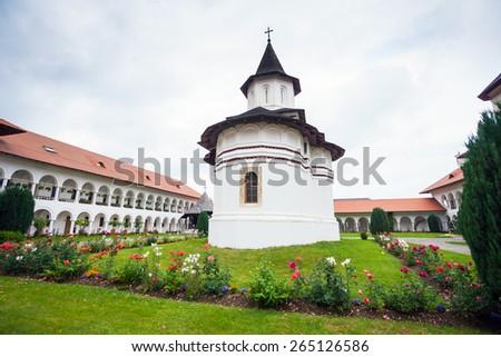 Sambata, Romania - June 24, 2012: Church inside Sambata de Sus Monastery in Transylvania, Romania - stock photo
