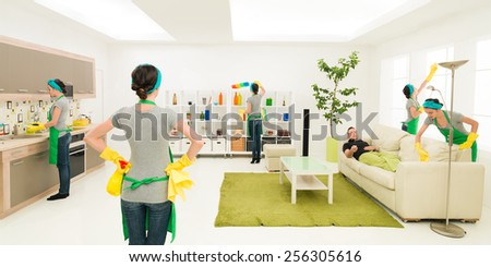same woman cleaning living room while man rests on sofa, digital composite image - stock photo