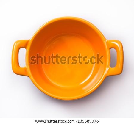 Samll orange cooking pot - stock photo