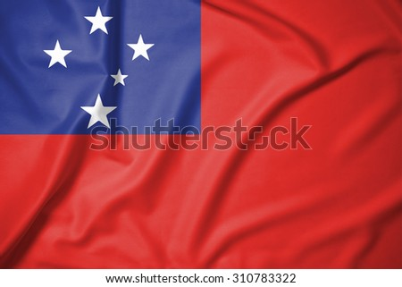 samoa flag on soft and smooth silk texture