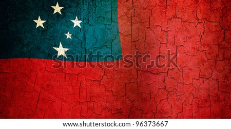 Samoan flag on a cracked grunge background - stock photo