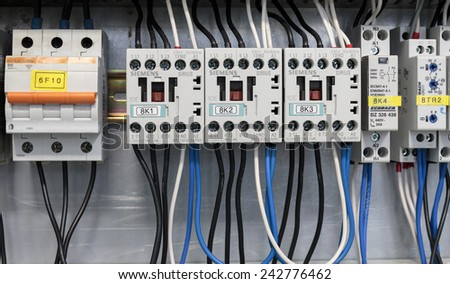 SAMOBOR, CROATIA - JANUARY 09, 2015: Cabinet with Siemens and Schrack electrical installations. Siemens and Schrack are one of the most known manufacturers of electrical installation and switches.