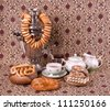 Samovar, a traditional old Russian tea kettle with bagels - stock photo