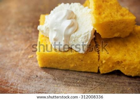 Samp with cheese and cream - stock photo