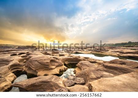 Sampanbok natural stone park the grand canyon of Ubonratchathani Thailand - stock photo