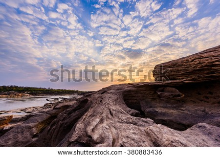 Samphanboke Ubonratchatani Grand Canyon in Thailand, 3000 Boke nature of rock is unseen in Thailand landscape. - stock photo