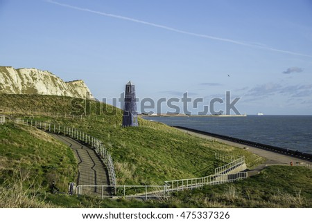 Samphire Hoe Country Park west of Dover in Kent in southeast England. Also visible is part of the famous white chalk cliffs of dover.