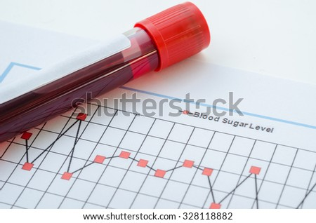 Sample blood for screening diabetic test in blood tube on blood sugar control chart. - stock photo