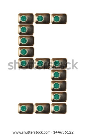 Sample five numbers of metal on a white background closeup - stock photo