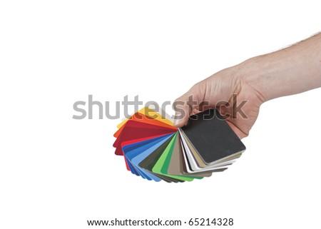 sample metal RAL color chart - stock photo