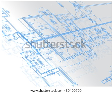 Sample of architectural blueprints over a light gray background / Blueprint - stock photo