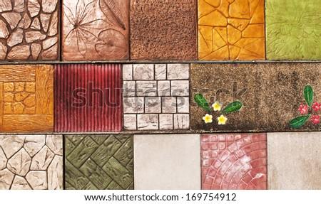 sample of ceramic tile in store - floor wall texture surface design granite square beautiful colorful - stock photo