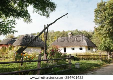 "Sample of old houses Ukraine in ""Pirogovo"" museum in Ukraine - stock photo"