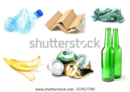 Sample of trash for recycling isolated on white background