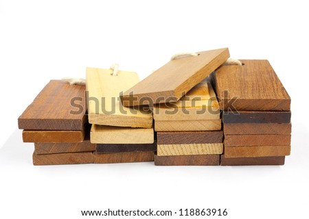 sample pieces various kind of wooden for decoration construction isolated on white background - stock photo