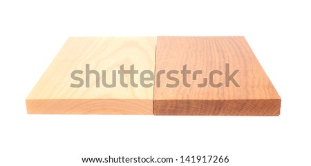 sample pieces various kind of wooden for decoration on the white bsckground