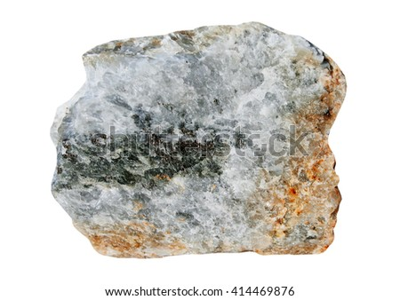 Sample quartz with sulfides it is isolated on a white background