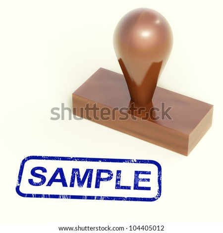 Sample Stamp Showing Examples Symbol Or Taste - stock photo