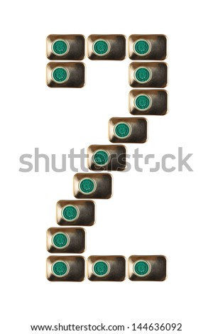 Sample two numbers of metal on a white background closeup - stock photo