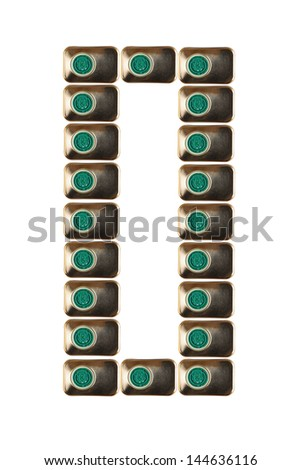 Sample zero numbers of metal on a white background closeup - stock photo