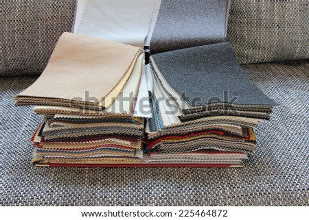 Samples of color of fabric for upholstery the furniture - stock photo