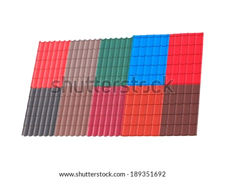 Samples of corrugated metal roofing