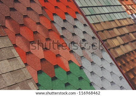 Samples of shingles roof - stock photo