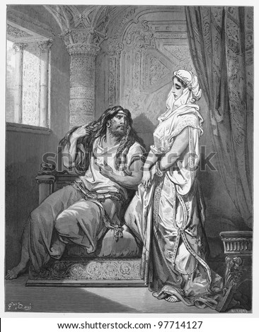 Samson and Delilah - Picture from The Holy Scriptures, Old and New Testaments books collection published in 1885, Stuttgart-Germany. Drawings by Gustave Dore. - stock photo