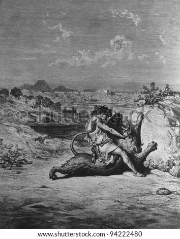 Samson and the Lion. 1) Le Sainte Bible: Traduction nouvelle selon la Vulgate par Mm. J.-J. Bourasse et P. Janvier. Tours: Alfred Mame et Fils. 2) 1866 3) France 4) Gustave Doré - stock photo