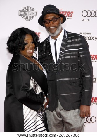 Samuel L. Jackson and LaTanya Richardson at the World premiere of Marvel's 'Avengers: Age Of Ultron' held at the Dolby Theatre in Hollywood, USA on April 13, 2015.  - stock photo