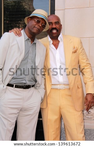 Samuel L. Jackson and Steve Harvey at the Steve Harvey Star on the Hollywood Walk of Fame, Hollyood, CA 05-13-13 - stock photo