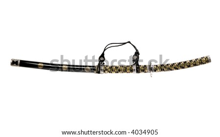 samurai katana sword, sharp steel isolated - stock photo