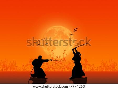 Samurai Silhouette - stock photo