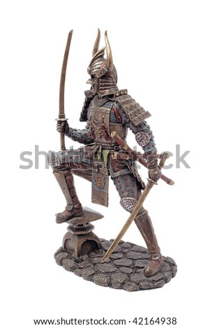 Samurai skulpture - stock photo