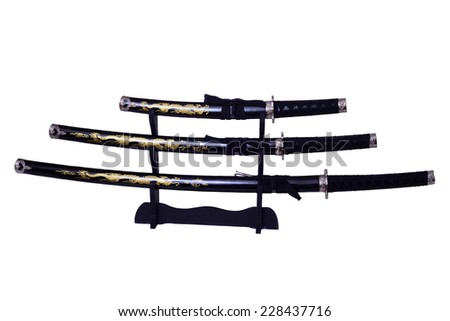 Samurai swords, Katana, Wakizashi and Tanto, isolated on white background - stock photo