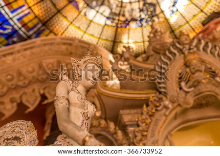 Samut Prakan, Thailand - Dec 28 , 2015 An angle in the Erawan museum which separated into three classes according to their faith in the three worlds, underwater, world and heaven