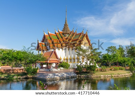 SAMUT PRAKAN THAILAND 5 MAY 2016 : The Dusit Maha Prasat in the Ancient Siam is a park constructed under the patronage of Lek Viriyaphant and spreading over 0.81 km2 in the shape of Bangkok, Thailand.