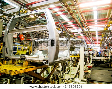 SAMUTPRAKARN, THAILAND - JUNE 20 Cab of car in welding assembly line on June 20, 2013 in Samutprakarn, Thailand. Thailand have many automotive company which produce vehicle in South East Asia - stock photo