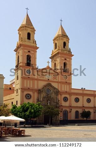 San Antonio Church.  San Antonio church in Cadiz, Spain as viewed from Plaza San Antonio. - stock photo