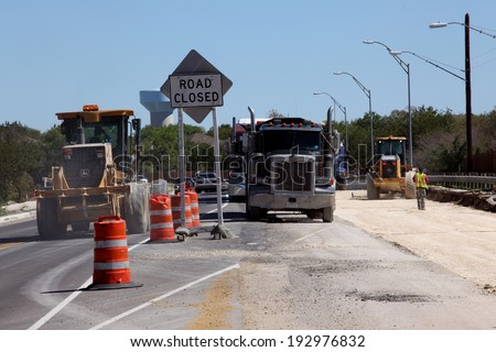 SAN ANTONIO, TX - OCTOBER 18 2011: Bridge construction in progress on a city street in San Antonio, Texas, as government stimulus money is put to use - stock photo