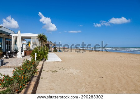 SAN BENEDETO DEL TRONTO, ITALY - OCTOBER 3: Beach in San Benedetto del Tronto, Italy on October 3, 2009. Its at the Adriatic Sea coast and is an active fishing port and seaside resort.