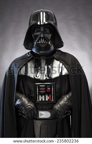 SAN BENEDETTO DEL TRONTO, ITALY. DECEMBER 5, 2014. Front portrait  of a replica of the costume of Darth Vader . Darth Vader or Dart Fener is a fictional character of Star Wars saga - stock photo